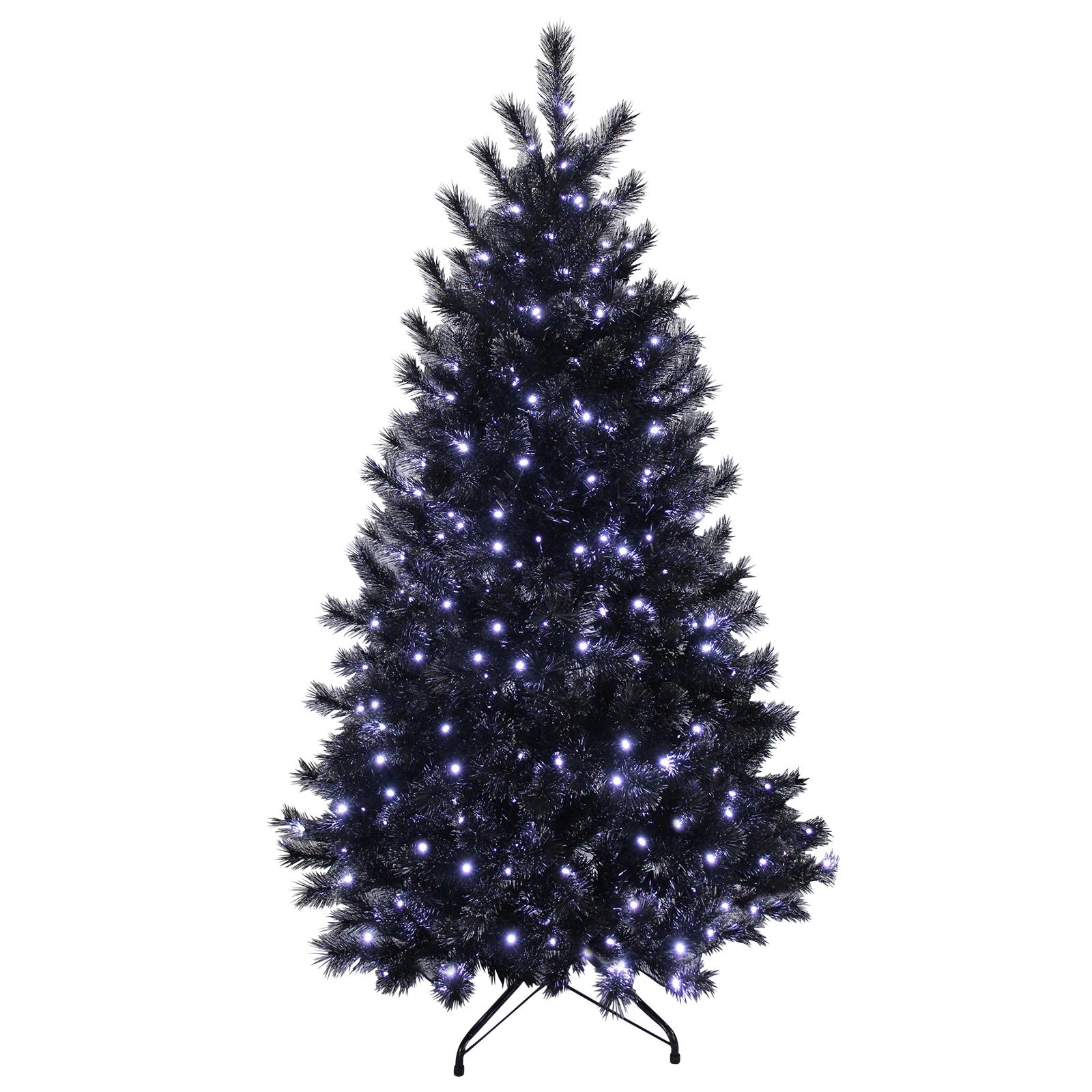 7ft Black Glitter Pine Artificial Prelit Bright White Lights ...
