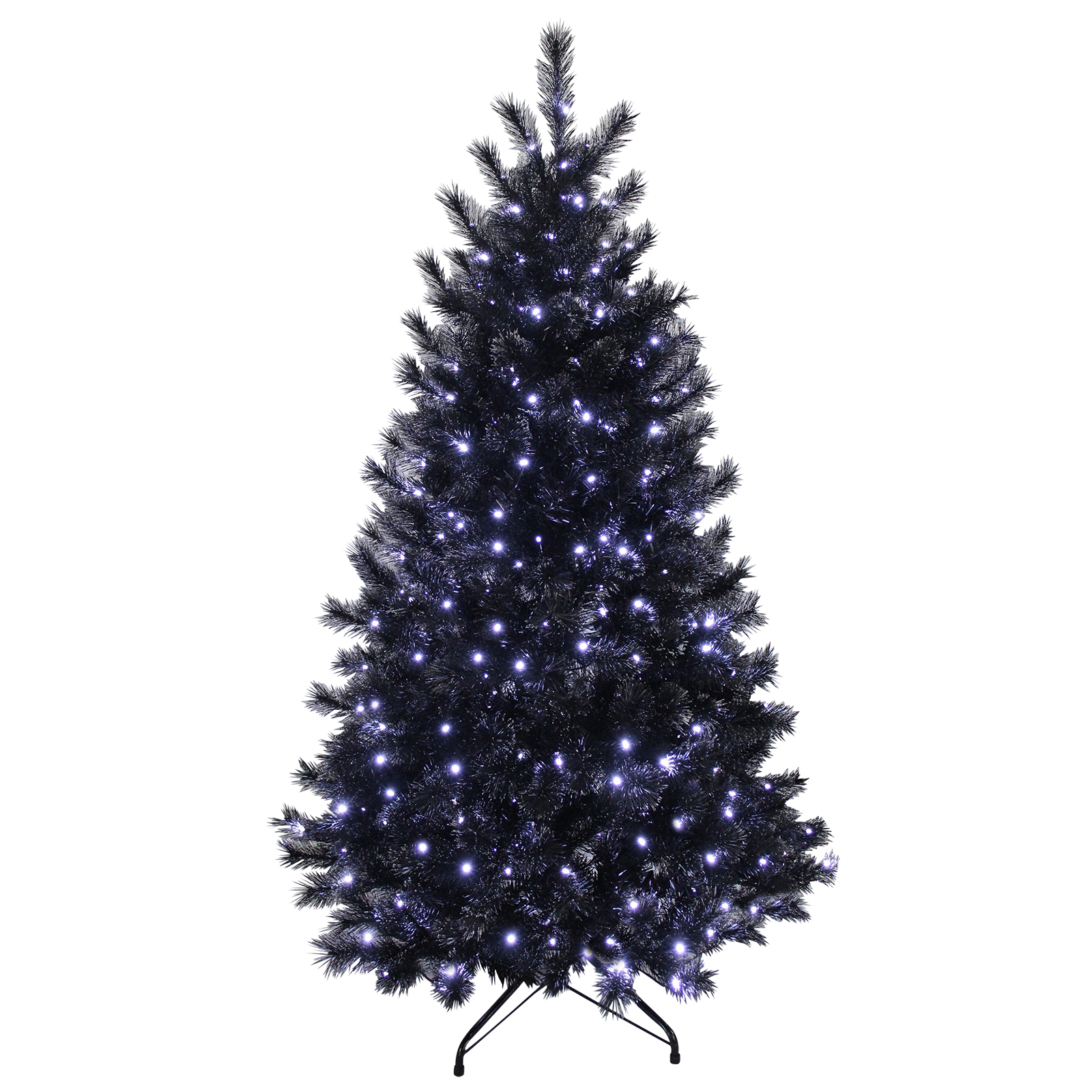 15 Tree Of Lights Tree C7: 7ft Black Glitter Pine Artificial Prelit Bright White