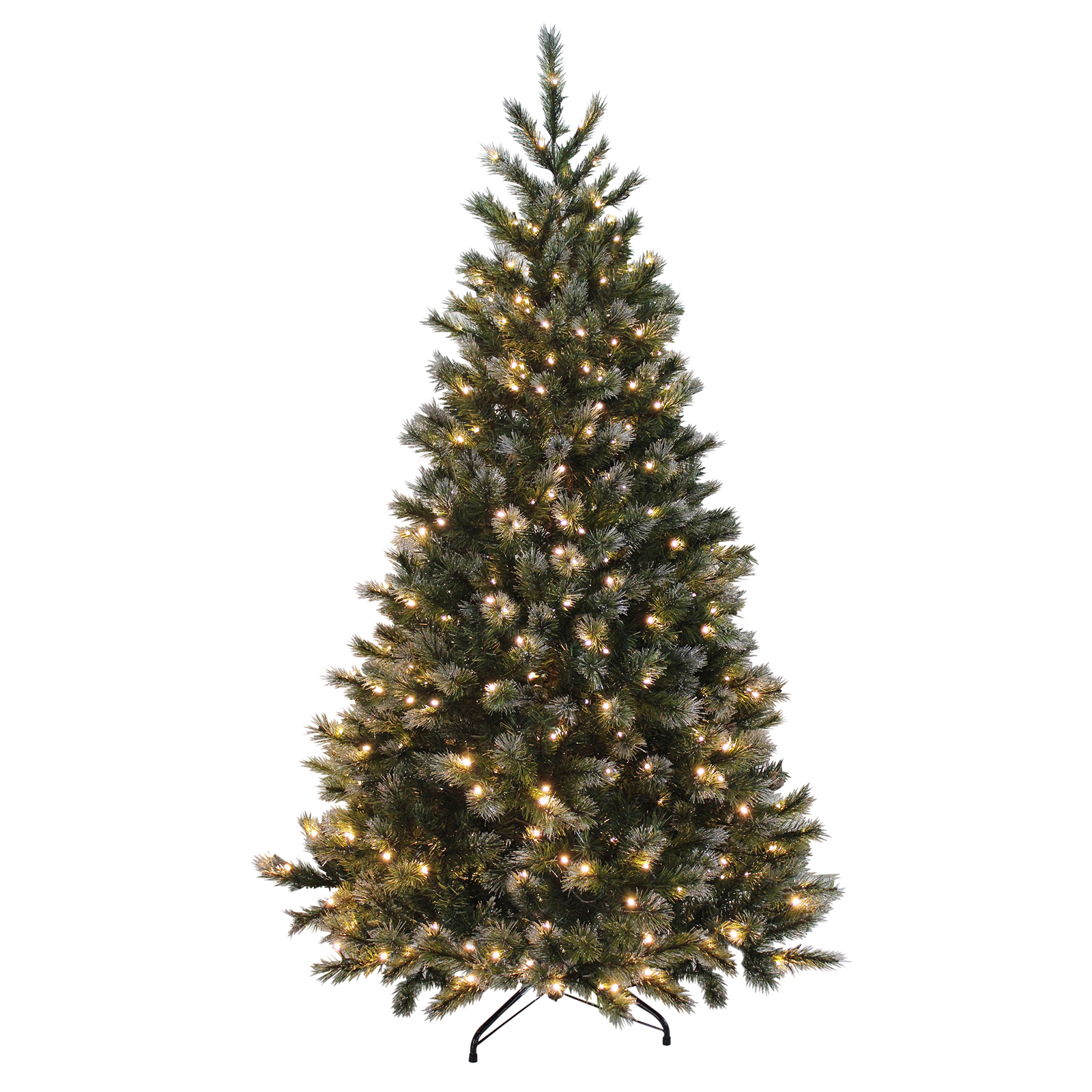 Green Artificial Xmas Christmas Tree With Glitter Tips & Warm ...