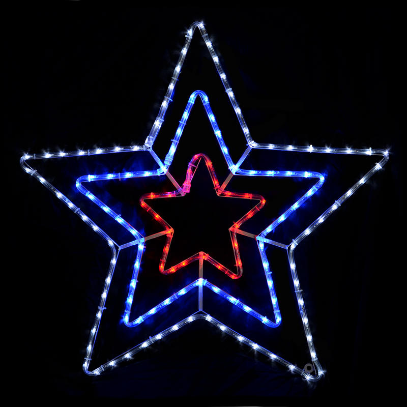 Flashing Red/Blue/White Rope Light Star Decoration Indoor ...