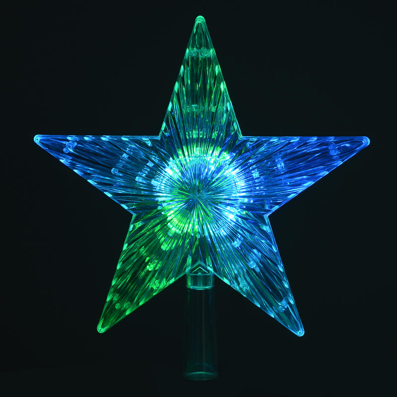 Colour changing led light up star christmas tree topper for Light up christmas decorations