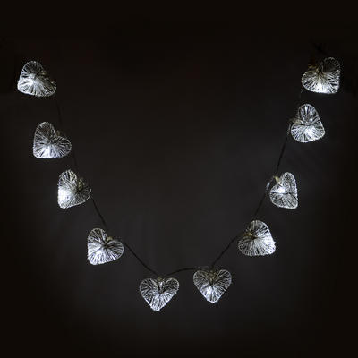 Set Of 10 Silver Wire Heart Lights With White LEDs