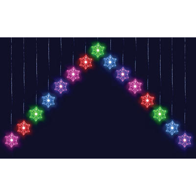 15 Colour Changing LED Snowflake Curtain Light Indoor / Outdoor Xmas Decoration