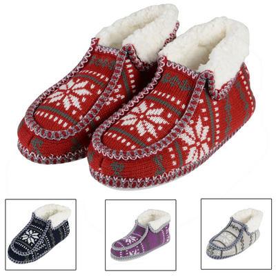 Ladies Fairisle Bootie Winter Slippers With Non Slip Soles