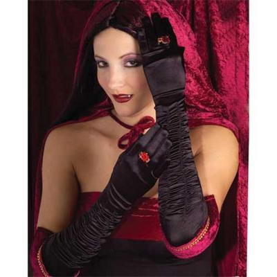 Long Sexy Black Gothic Gloves Fancy Dress Accessory