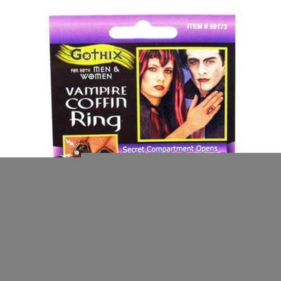 Vampire Red Coffin Ring Halloween Fancy Dress Costume Prop