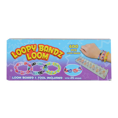 Childrens 600pc Loopy Bandz Loom Bands Craft Set Fashion Bracelet Jewellery New