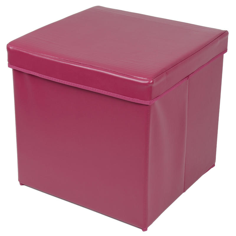 Plum Faux Leather Folding Ottoman Storage Cube With Padded Lid