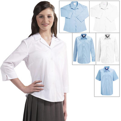 Twin Pack Girls Ziggys Blouses White Or Blue Choice Of Collar / Sleeve Styles