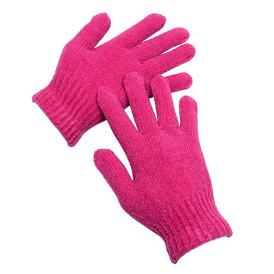 1 Pair Ladies Pink Chenille Stretch Winter Gloves One Size