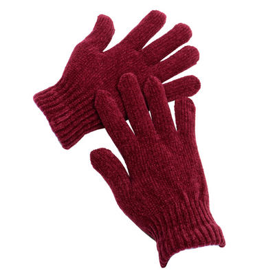 1 Pair Ladies Red Chenille Stretch Winter Gloves One Size