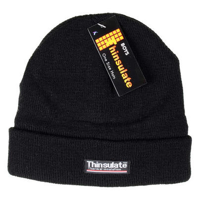Boys' Black Beanie Hats With Soft Thermal Lining One Size With Fold Up Edge