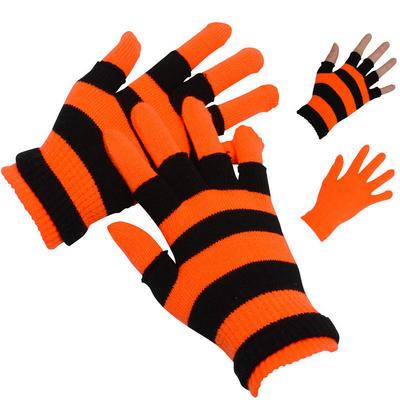 Ladies Two Layered Neon Orange Stretch Magic Gloves Winter Outdoor