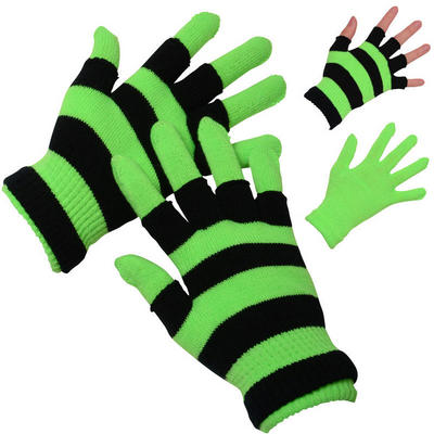 Ladies Two Layered Neon Green Stretch Magic Gloves Winter Outdoor