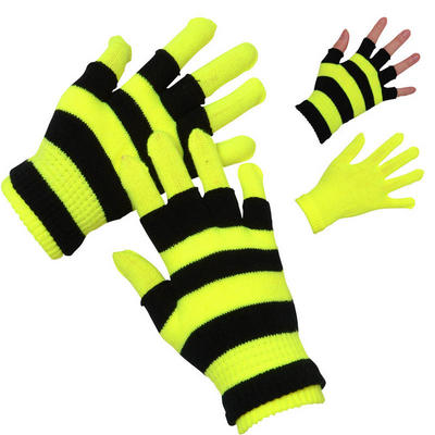 Ladies Two Layered Neon Yellow Stretch Magic Gloves Winter Outdoor