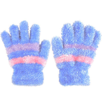 Ladies Super Soft Feather Feel Magic Gloves Blue With Pink & Lilac Stripes