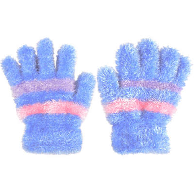 Children's Feather Feel Magic Stretch Gloves Blue With Pink & Lilac Stripes