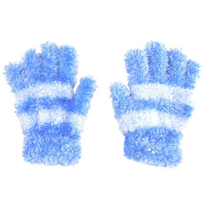 Children's Feather Feel Magic Stretch Gloves Blue With Pale Blue Stripe