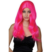 Sexy Wavy Pink Fancy Dress Party Wig by Wicked Costumes Thumbnail 1