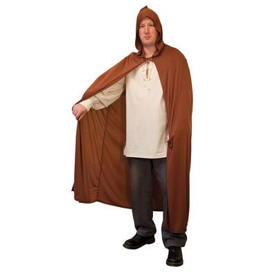 Adults Brown Hooded Fancy Dress Cape