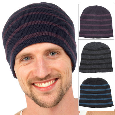 Mens One Size Stretch Striped Beanie Hat