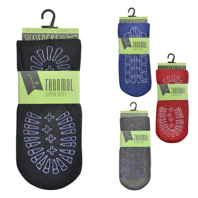 Mens Non Skid Thick Thermal Slipper Socks One Size (UK 7-11)