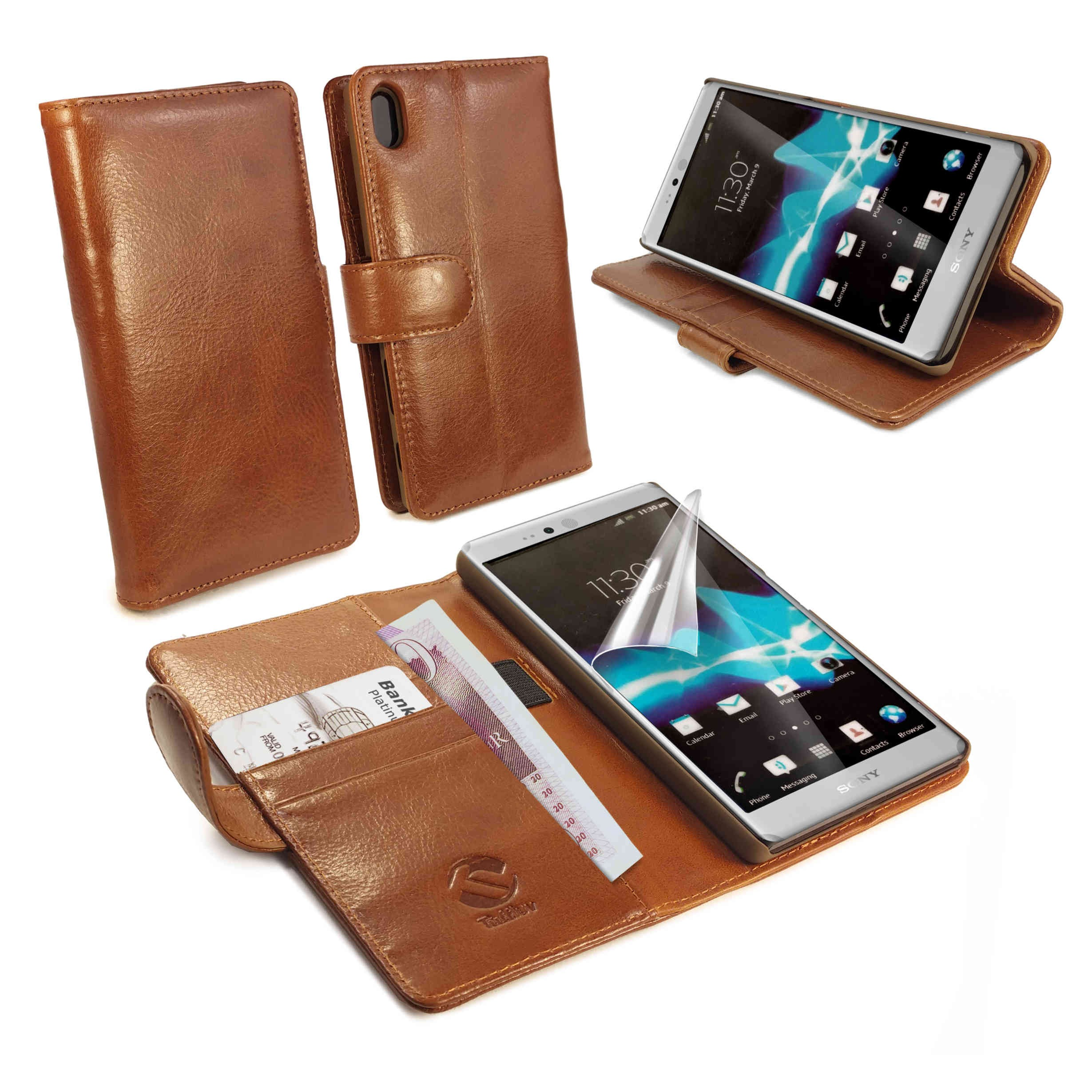 promo code 62777 b61d9 Details about TUFF LUV Leather Wallet / Stand Case for Sony Xperia Z5  Premium Z5+-Brown