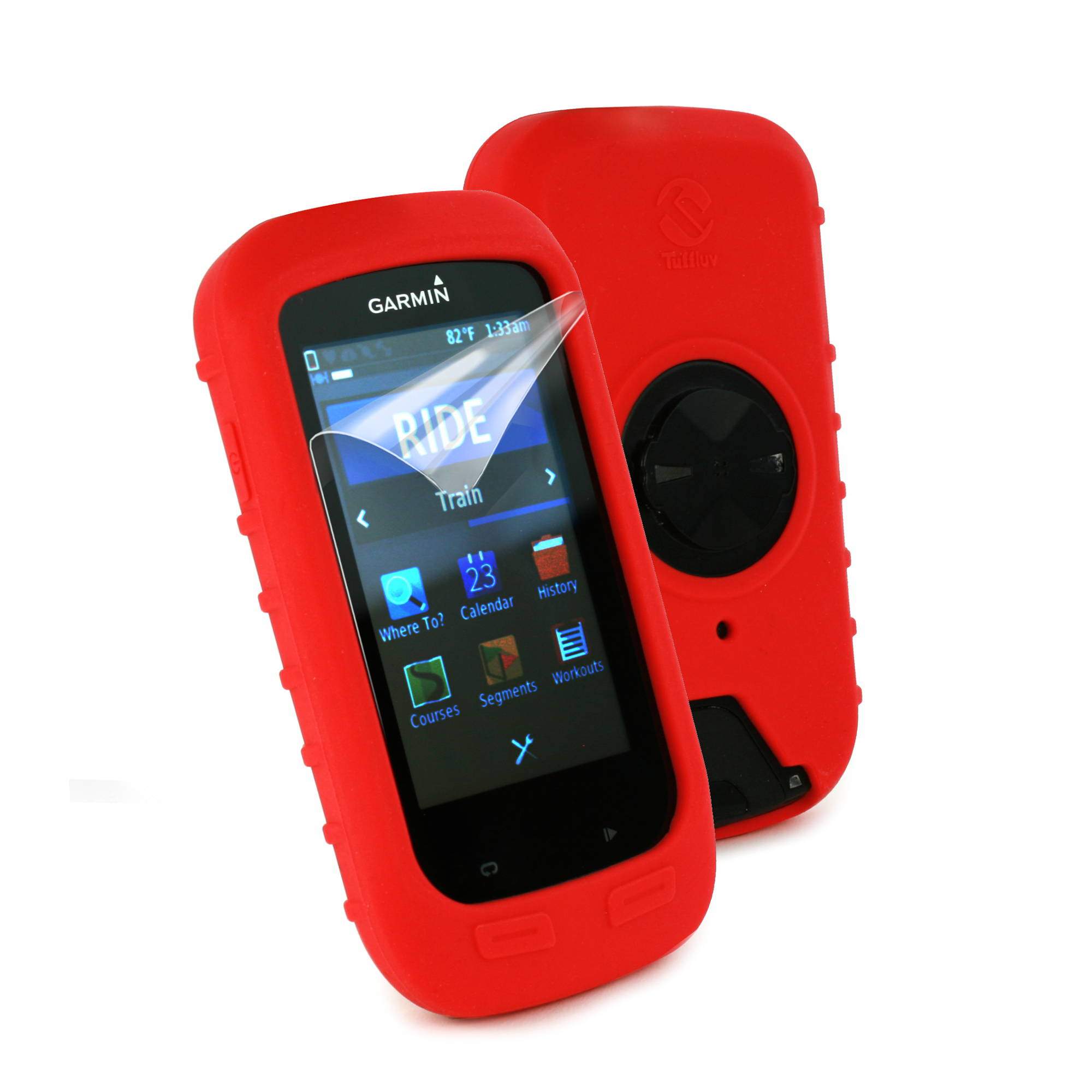 Tuff Luv Silicone Case Mount for Garmin Edge 520//520 Plus-Red