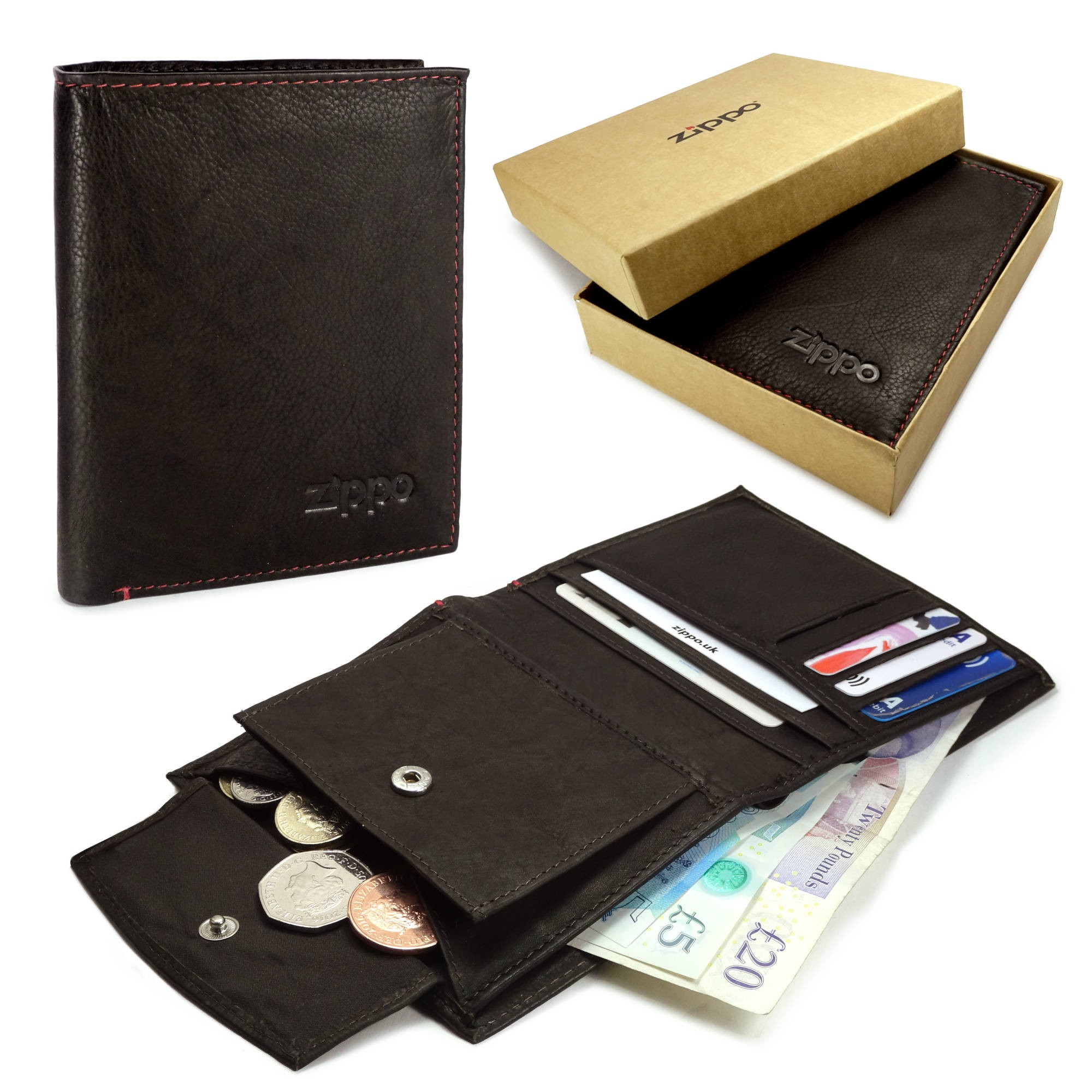 52dcbd03623116 SENTINEL Zippo personalizzati in vera pelle portafoglio e portamonete -  Mocca Brown
