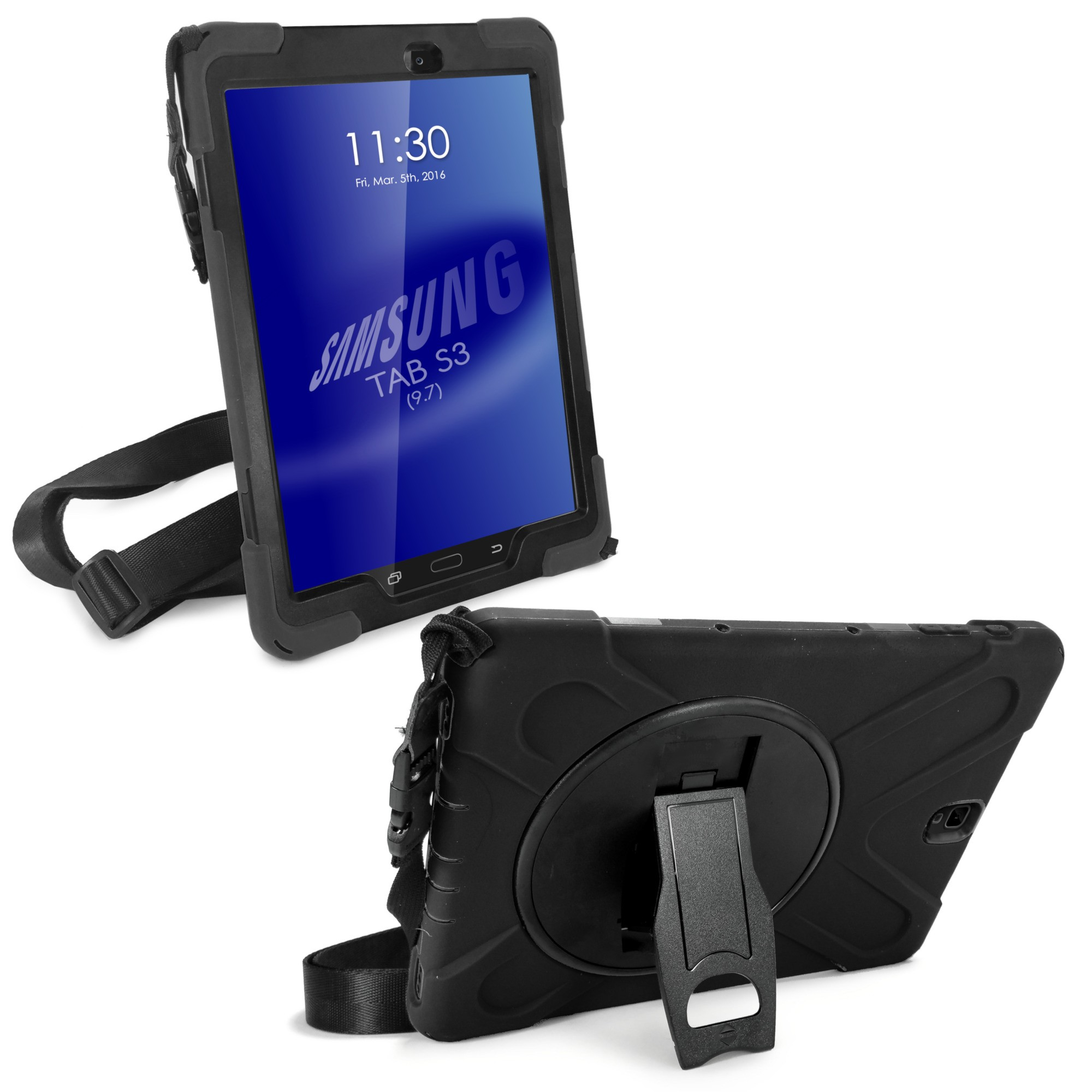 the best attitude 2859e 1f6b0 Details about TUFF LUV Armour Case Stand with Shoulder Strap for Galaxy Tab  S3 9.7 - Black
