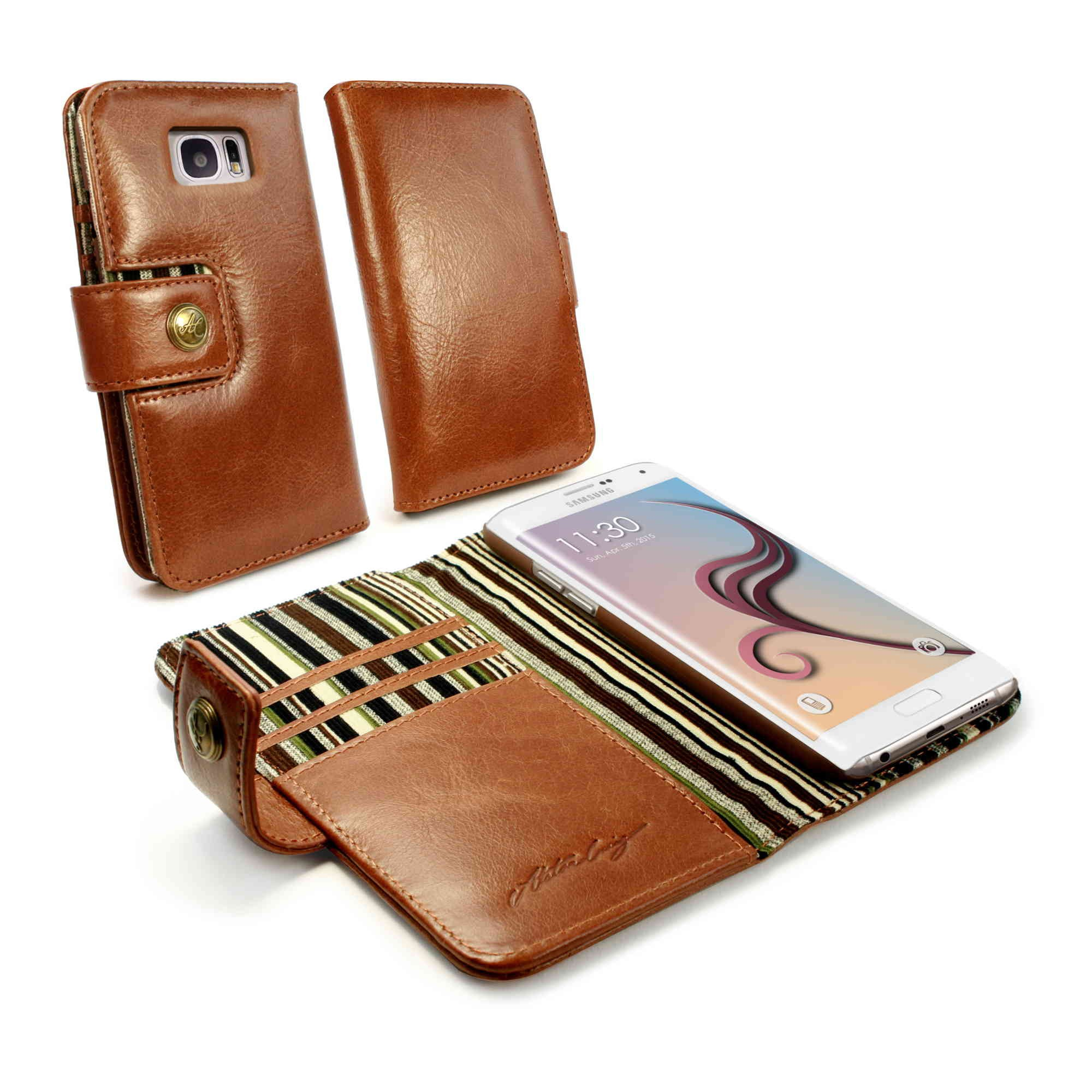 best service 0f092 83764 Details about Alston Craig Alston Craig Genuine Leather Folio Wallet Case  Cover for Galaxy S6