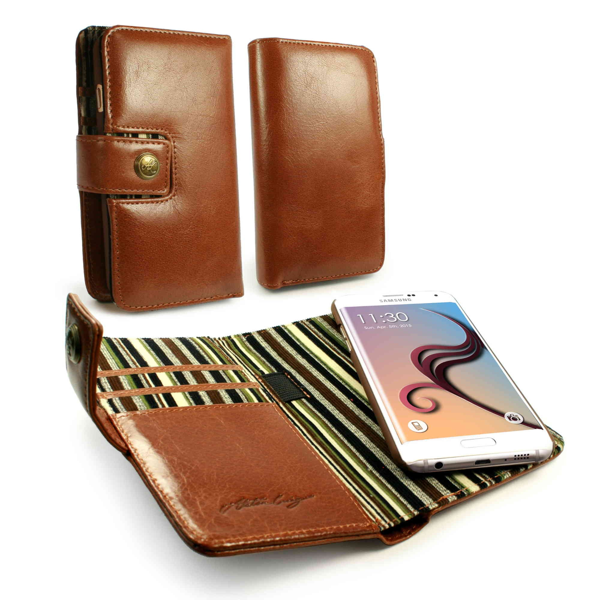 best service c611b a7d69 Details about Alston Craig Alston Craig Genuine Leather Folio Wallet Case  Cover for Galaxy S6