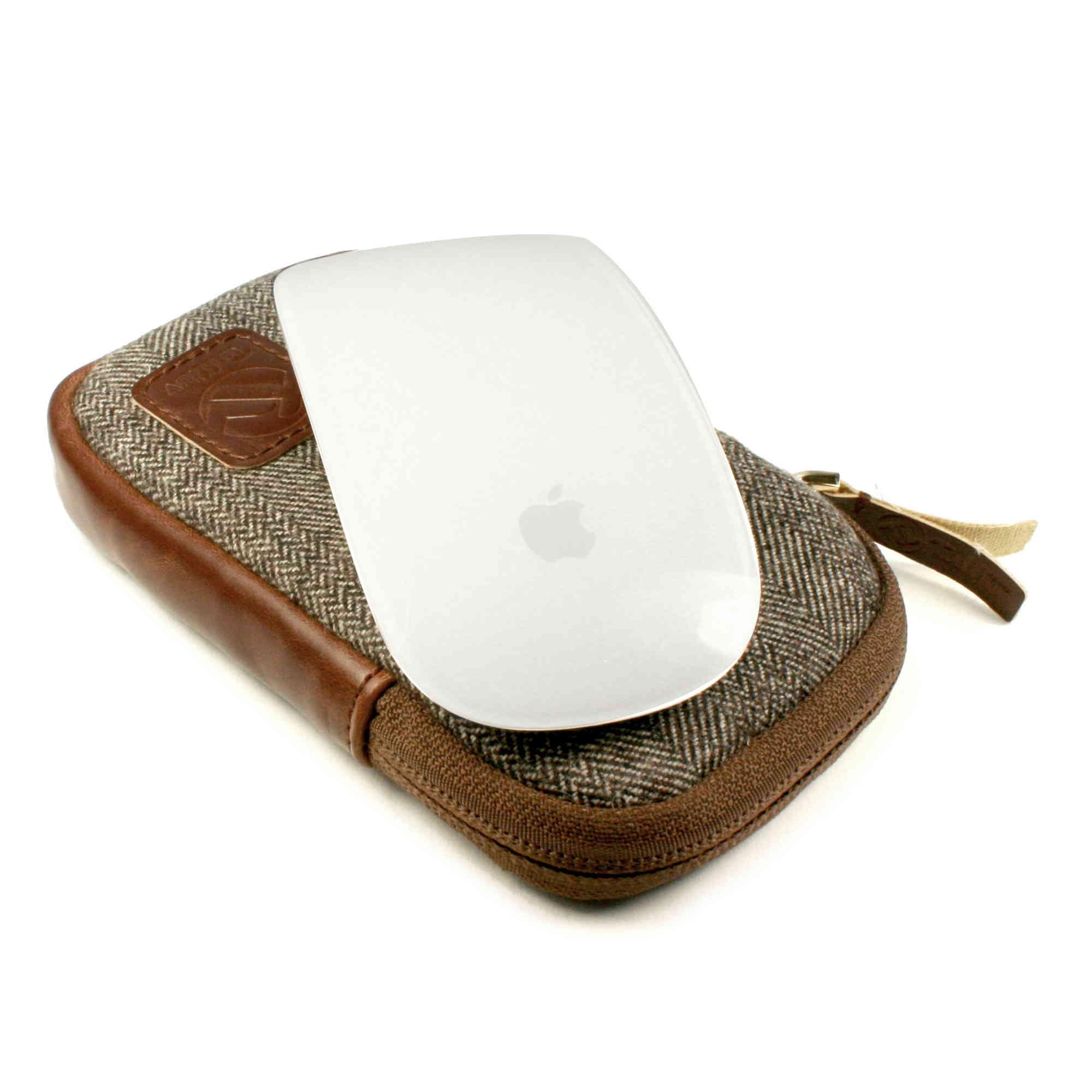 Sentinel TUFF LUV Herringbone Tweed Travel Case for Apple Magic Mouse 1 & 2  - Brown