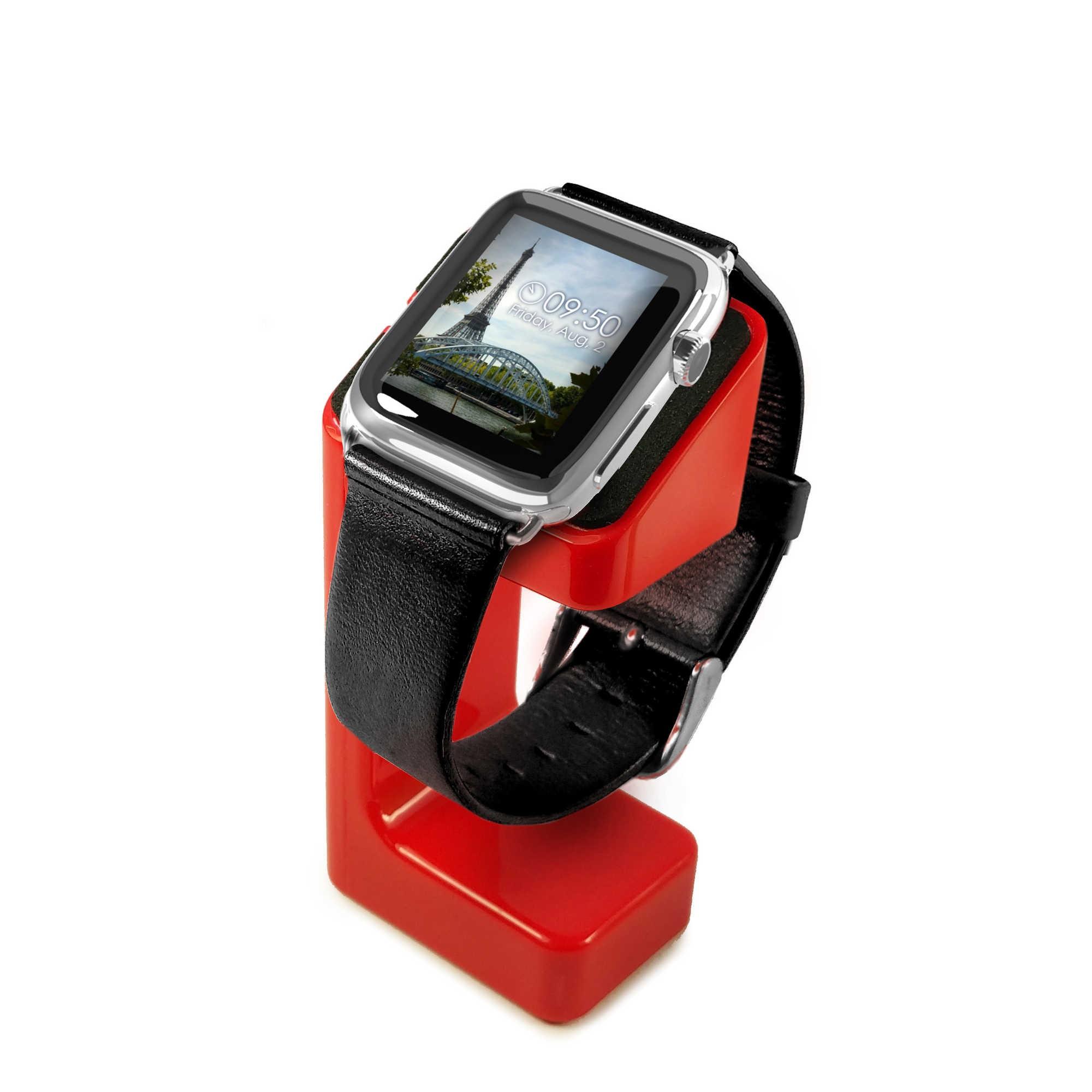 rivenditore di vendita 85237 ec62e Dettagli su Tuff-Luv Modellato di Ricarica Supporto Orologio di Apple Serie  1/2/3 - Rosso