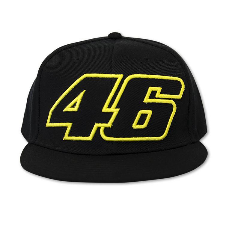 VR46 Valentino Rossi Black 46 Flat Peak Snapback Baseball Cap - Hats    Headwear - Ghostbikes.com c3f1876dd32f