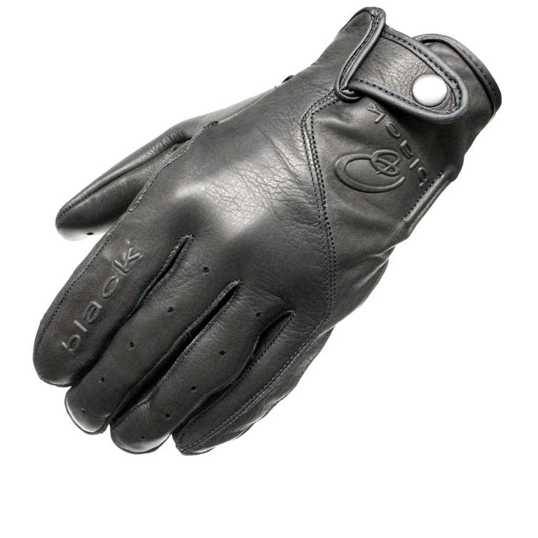 Black Static Leather Motorcycle Gloves
