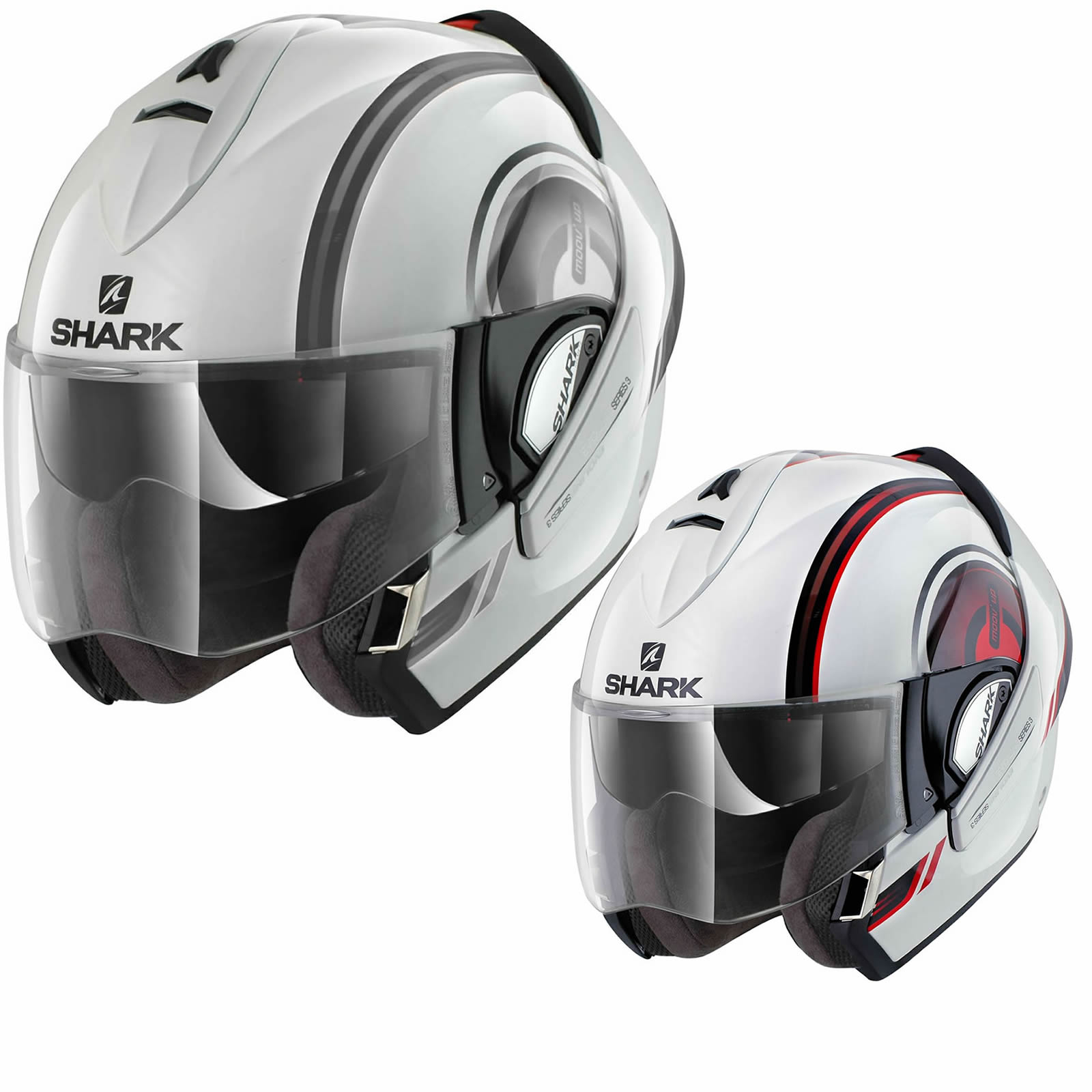shark evoline series 3 moov up motorcycle helmet flip front helmets. Black Bedroom Furniture Sets. Home Design Ideas
