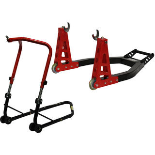 Black Pro Range Front Height Adjustable Head Stand & Heavy Duty Aluminium Rear Paddock Stand (B5065 & B5066)