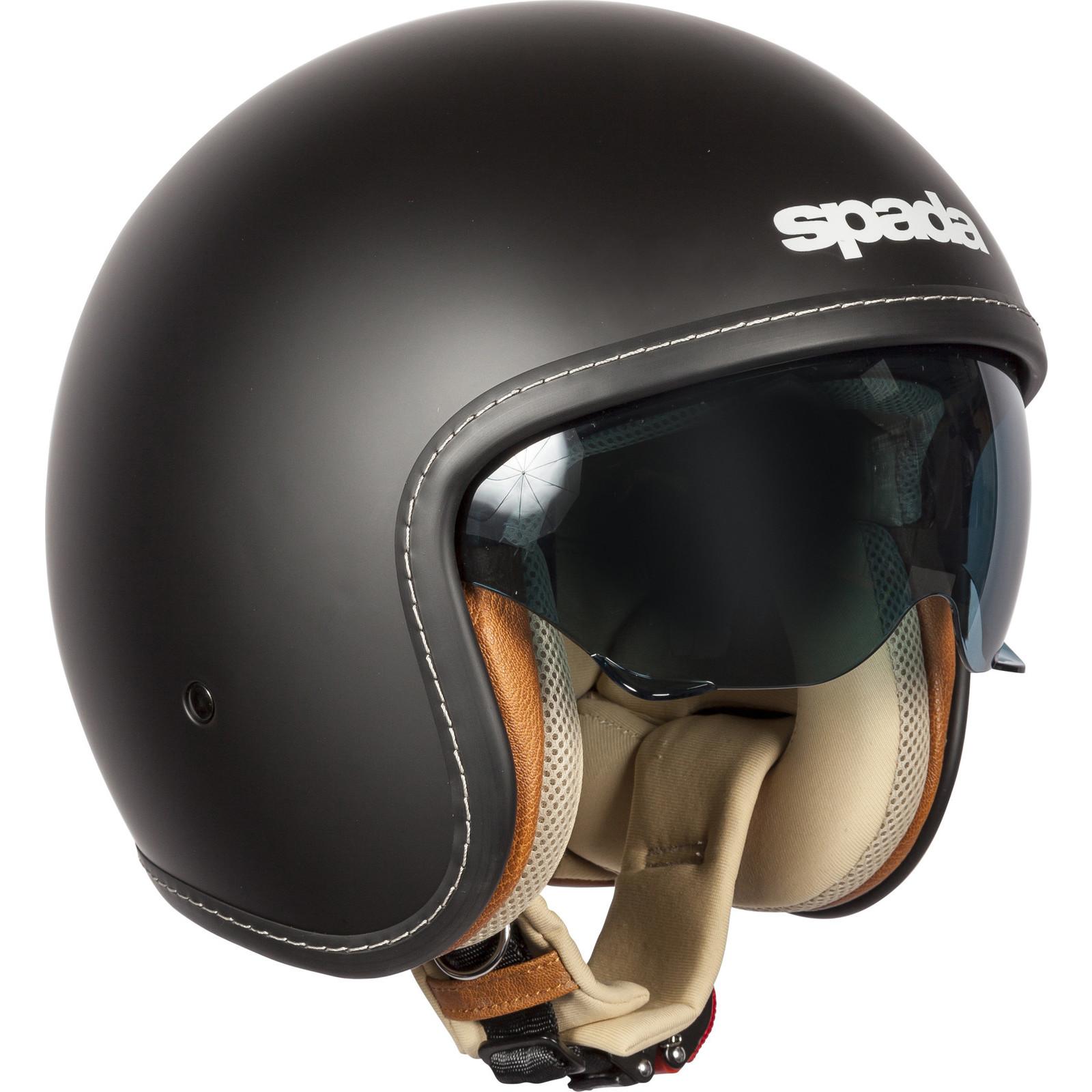 Spada-Raze-Solid-Black-Open-Face-Motorcycle-Helmet-Motorbike-Sun-Visor-Scooter