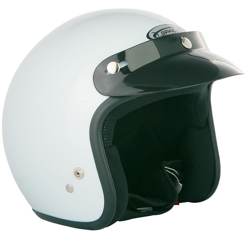 Spada-Solid-White-Open-Face-Motorcycle-Helmet-Jet-Motorbike-Peak-Scooter-Crash