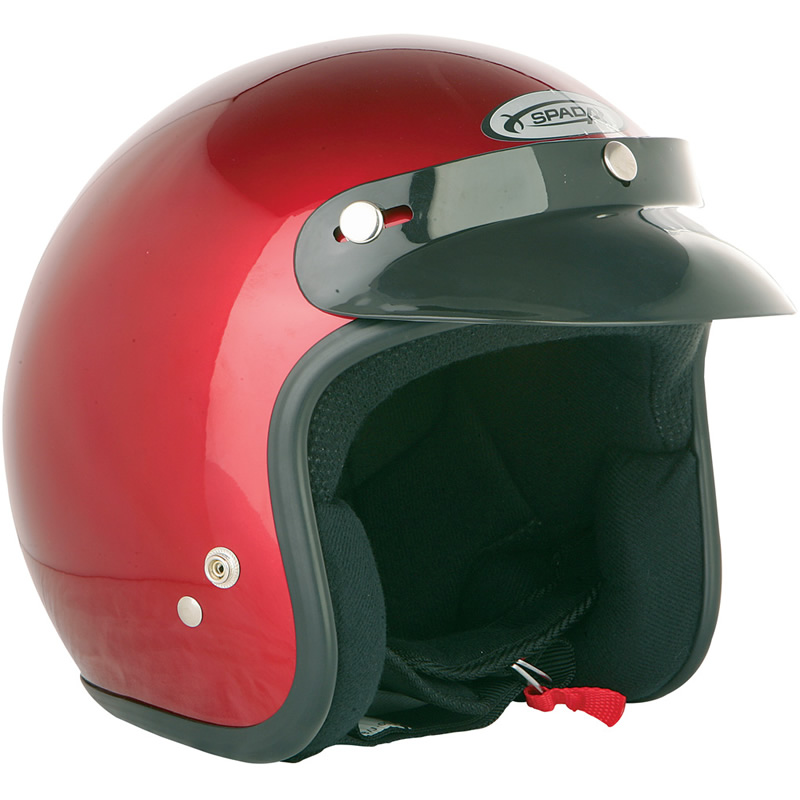 Spada-Solid-Red-Open-Face-Motorcycle-Helmet-Scooter-Moped-Crash-Jet-Cruiser-Lid