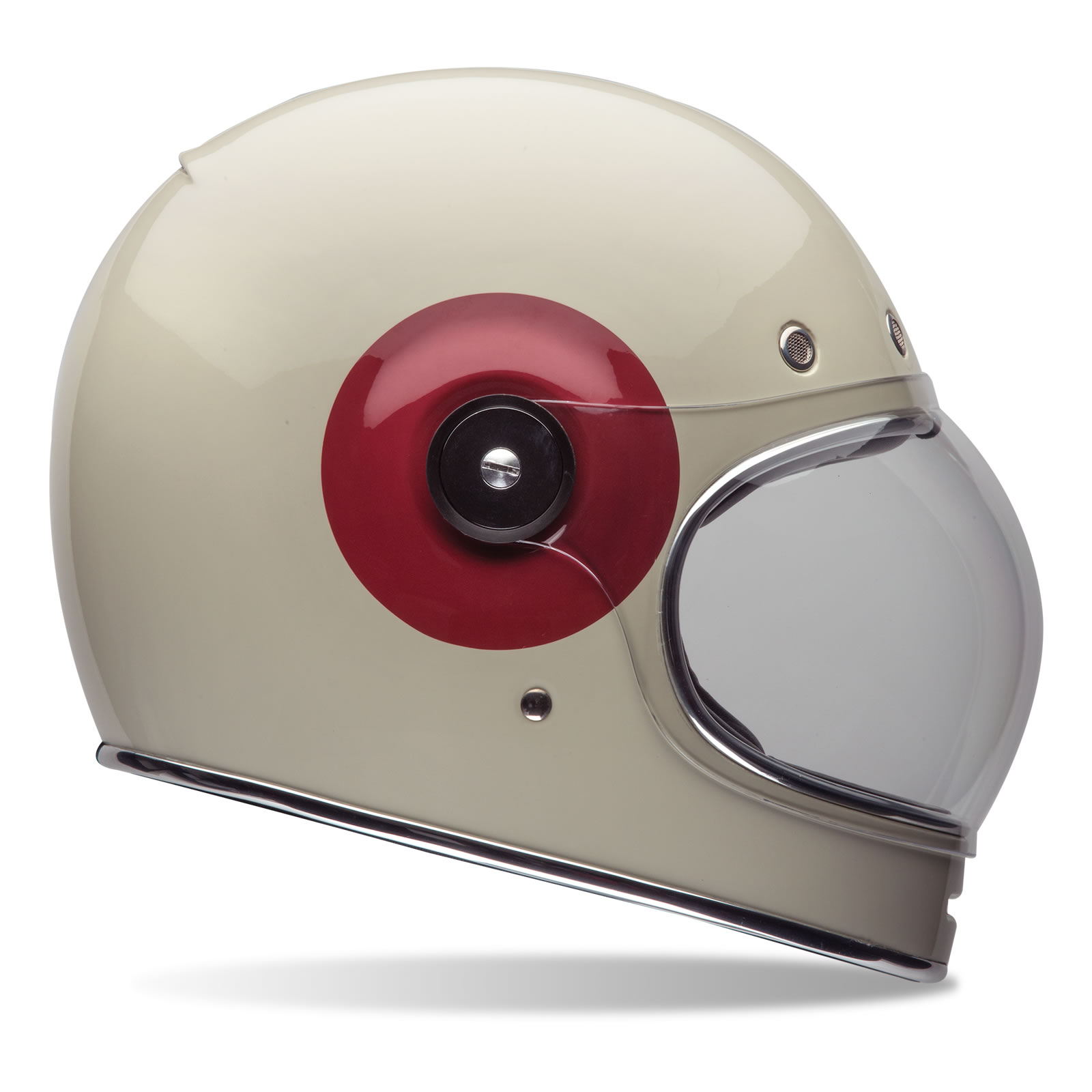Bell Motorcycle Helmet >> Bell Bullitt Tt Cream Red Motorcycle Helmet Retro Vintage Full Face