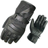 Black Airflow Leather Motorcycle Gloves