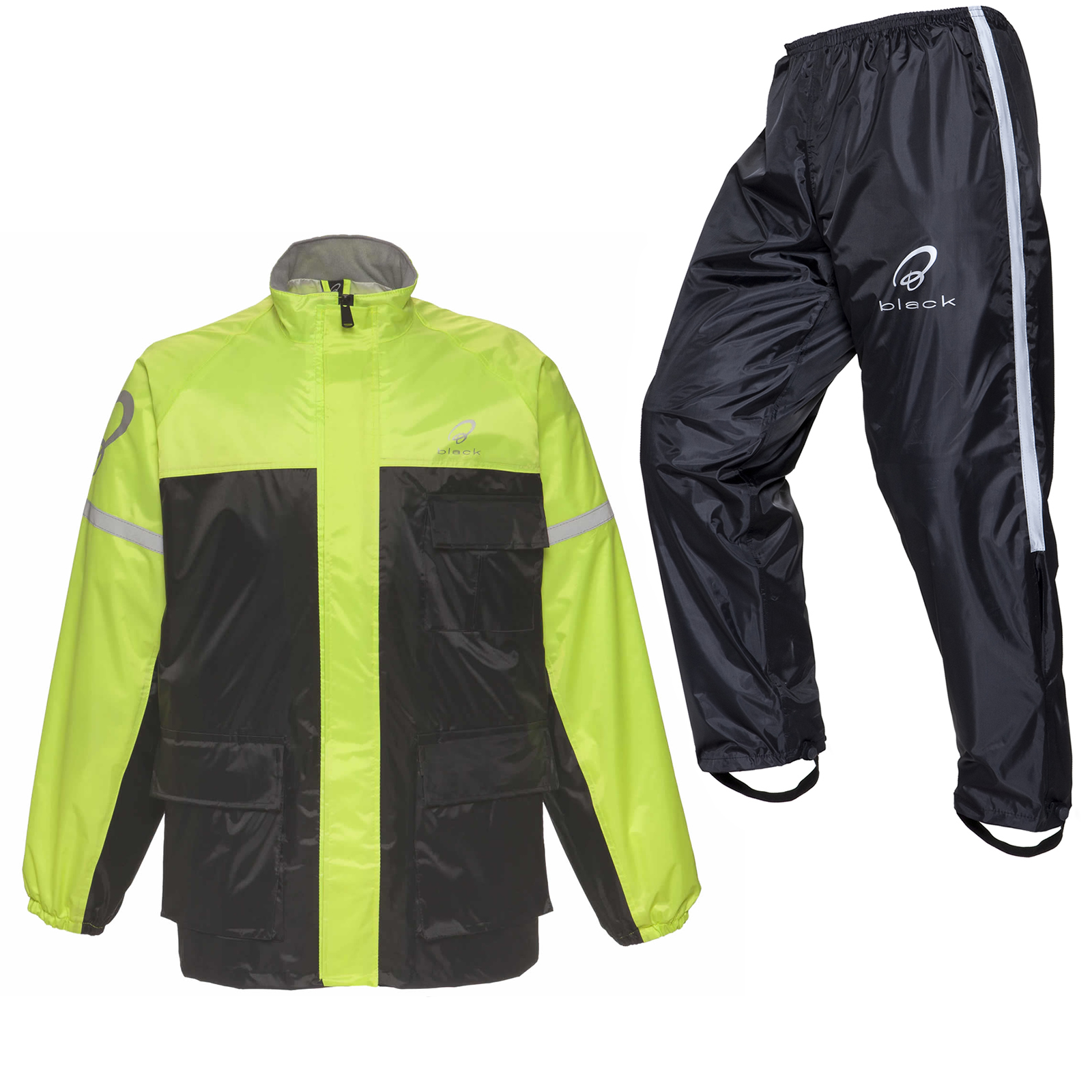 Black//Hi-Vis Waterproof Elasticated Motorcycle Rain Over Jacket All Sizes