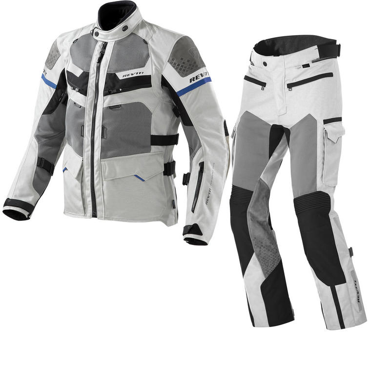 Rev It Cayenne Pro Motorcycle Jacket and Trousers Light Grey Blue Kit