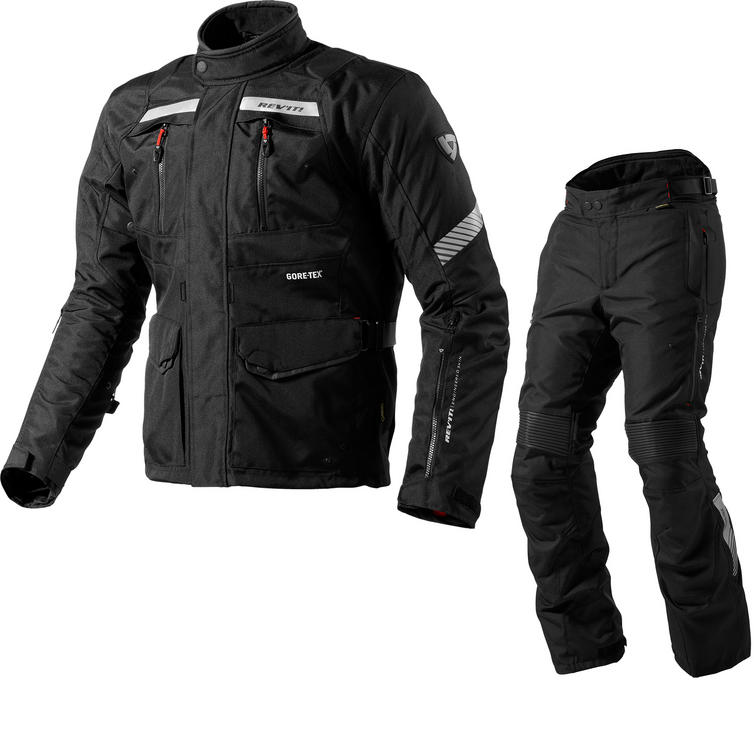 Rev It Neptune GTX Motorcycle Jacket and Trousers Black Kit