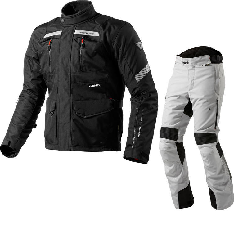 Rev It Neptune GTX Motorcycle Jacket & Trousers Black Silver Kit
