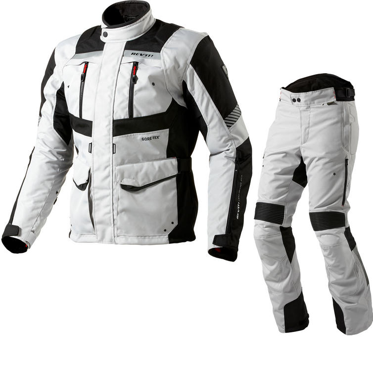 Rev It Neptune GTX Motorcycle Jacket & Trousers Silver Black Kit
