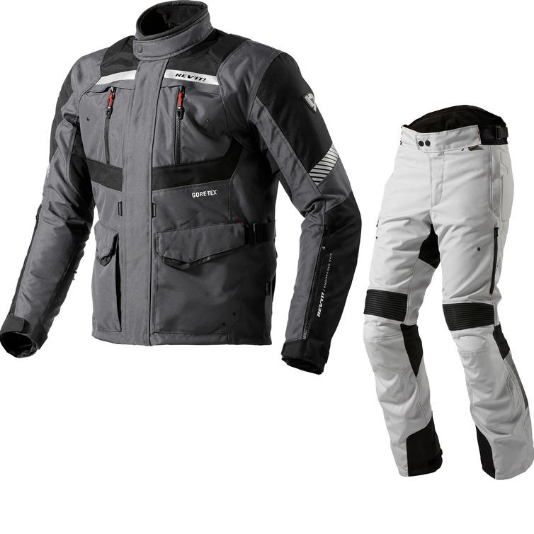 Rev It Neptune GTX Motorcycle Jacket & Trousers Anthracite Black Silver Kit
