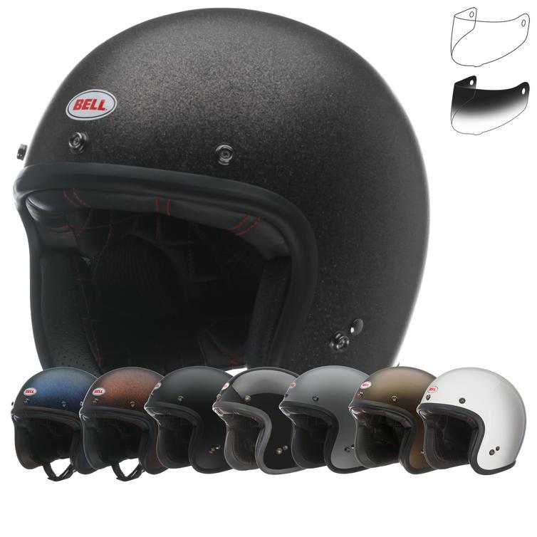 Bell Custom 500 Open Face Motorcycle Helmet & Optional Bubble Deluxe Visor